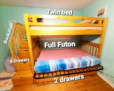 Wood Bunk Bed with Twin and Full Matresses Included with lots of storage in good shape.