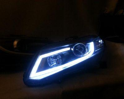 12-13 Honda Civic R8 Style Led Projector Headlight Black Housing