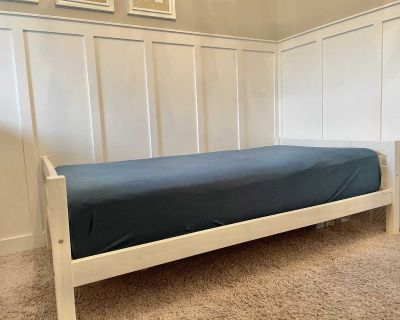 White Twin Bed with Mattress