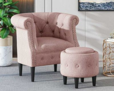 Classic Tufted Chair with Storage Ottoman