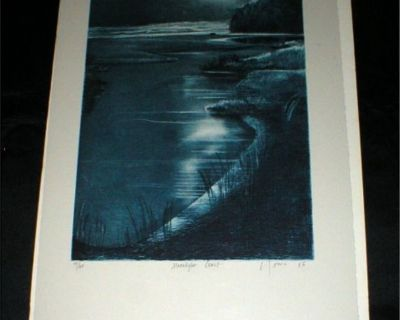 """Moonlight Coast"" - Vtg Art Print - Signed Numbered Matted - 1986"