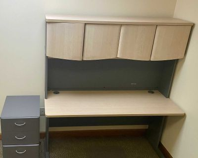 Desk with Hutch and File Cabinet