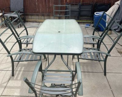 Rectangular glass table and chairs