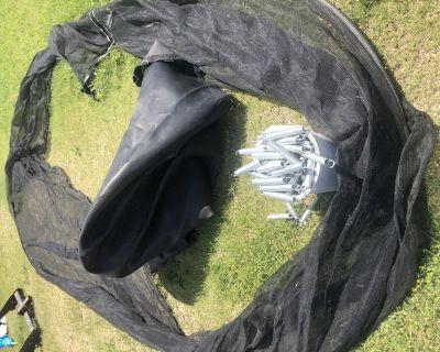 Trampoline tarp, springs, and net