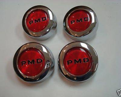 67-72 Firebird + Gto Pmd Wheel Hub Center Caps Ornaments New Red Set