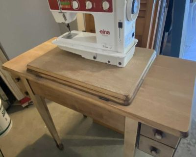 Elna sewing machine and table