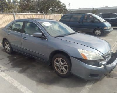Salvage Blue 2007 Honda Accord Sdn