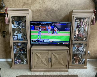 Large gorgeous weathered look solid wood entertainment center with pewter glass doors and glass ...
