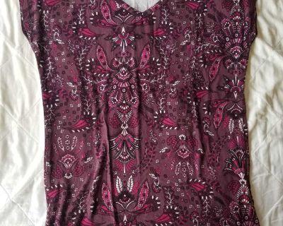 Like purple with fuchsia white and navy blue design shirt