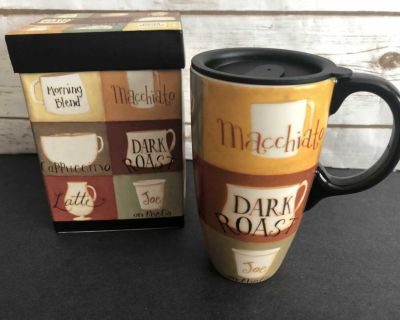 Ceramic Coffee Cup, Lid & Box! Great Condition! Holds over 16 oz.