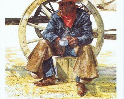 """Coffee Break"" Cowboy Litho - Artist Ron Raymer 1979 - Signed - Unframed"