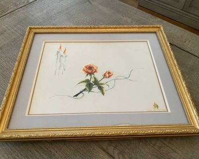 Beautiful Roses & Candles Hand Embroidered Silk Art in Gold Frame with gray mat by XQ Vietnam.