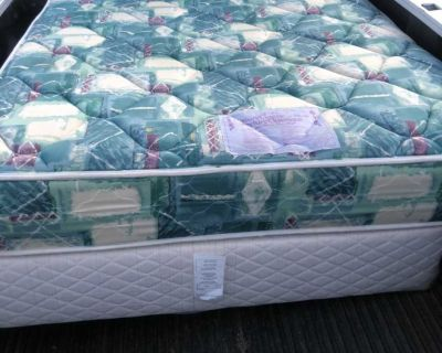 Double mattress with box spring and metal frame Will deliver in Steinbach for free!