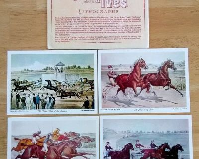 Horse Racing - Day At The Races - Set of 4 Vintage Currier & Ives Horse Lithographs