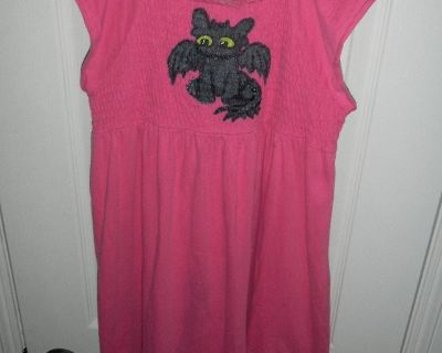 Girls 14/16 Hand Painted Toothless How To Train Your Dragon Pink Dress