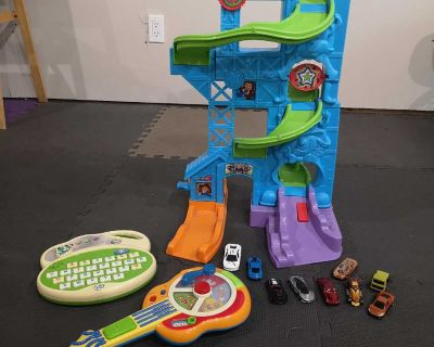 GUC toddler Toys. Car ramp with cars, leapfrog alphabet and number recognition toys and guitar.