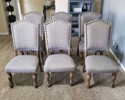 Ashley Furniture gray dining chairs set of 6