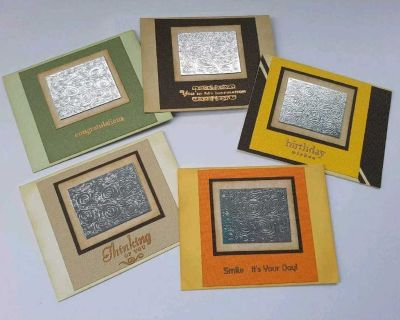 Handmade double matted Art Cards - gift giving - blank - A2 size - white envelopes - all occasion OOAK - hand embossed