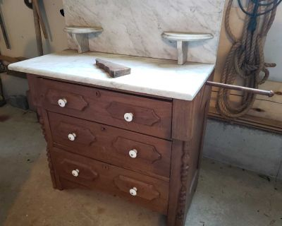 Antique walnut washstand table with marble top