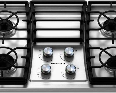 "KitchenAid 30"" Wide Drop In Gas Cooktop w/ 4 Sealed Burners 17000 BTU"