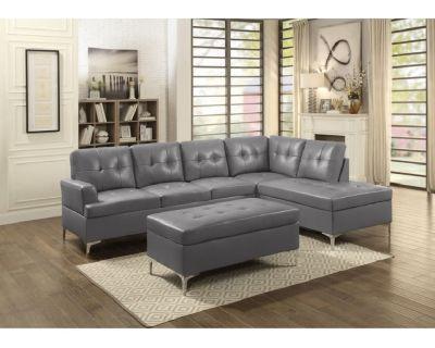 (*NEW) Grey Jessica Sectional Sofa w/ Ottoman $799.99
