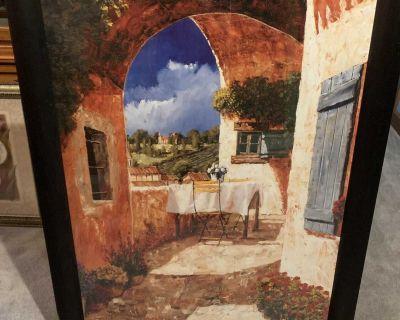 Wine and roses framed artwork