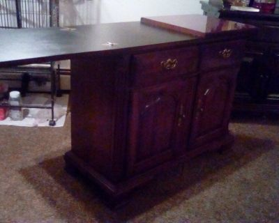 Cherrywood Banquet table & Matching Mirror & Cabinet