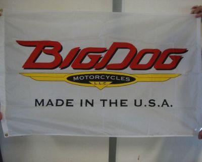 Big Dog Motorcycles Vintage Logo Flag Indoor K-9 Chopper Pitbull Mastiff Mutt