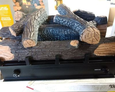 Fireplace log set with burner.