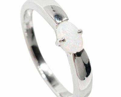 **FLASH SALE** SIMPLICITY IS BLISS STERLING SILVER SOLID AUSTRALIAN WHITE OPAL RING