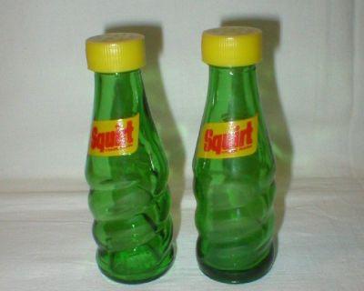 Vtg Miniature Squirt Soda Bottle Salt & Pepper Shakers - 1950's-60's
