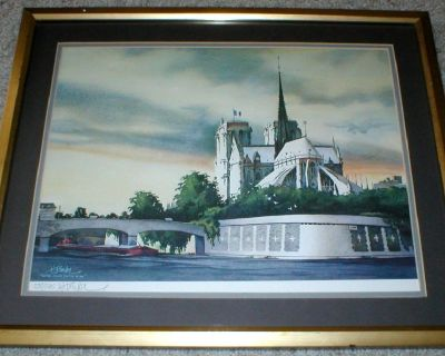 Notre Dame on the Seine Litho Signed Numbered Appraisal - Limited Edition - Framed