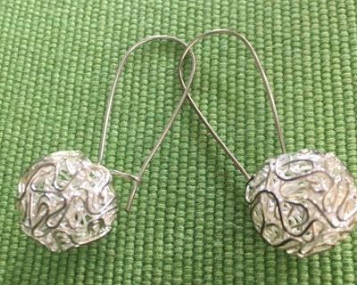 Earrings Silver Free Form Wire Balls Sterling on Long Wires with Closure on Back Unique