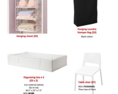 closet.laundry bag.organizing bag.table chair