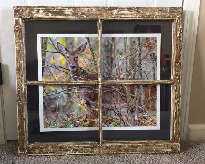 Beautiful picture in a rustic painted old window frame