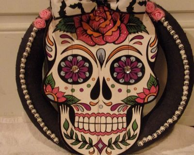 Halloween wreath, large sugar skull, bat bow.New made by me.