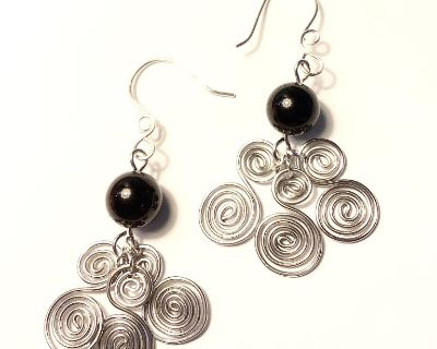 Silver Spiral Earrings with Black Obsidian Bead