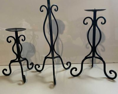 Black Rod Iron Trio of Candle Stands!