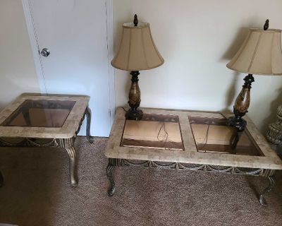 Set of 4 iron and marble tables w/lamps