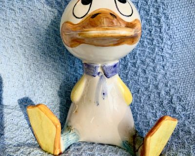 "8"" Porcelain Donald Duck Bank (RARE) Italian Hand Painted"