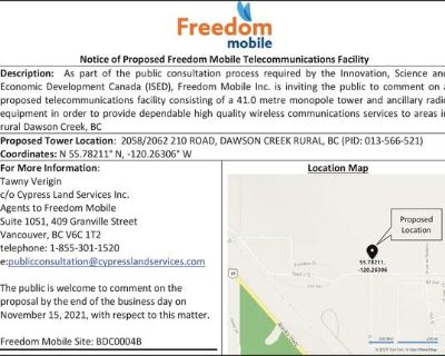Notice of Proposed Freedom Mobile Telecommunications Facility