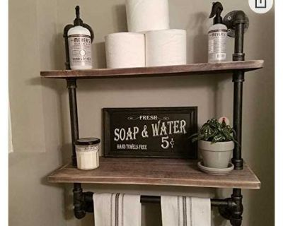 $85 for 2 tier pipe shelf. Bought 2 and decided the second doesn t fit in space. Can be used in bathroom or office.