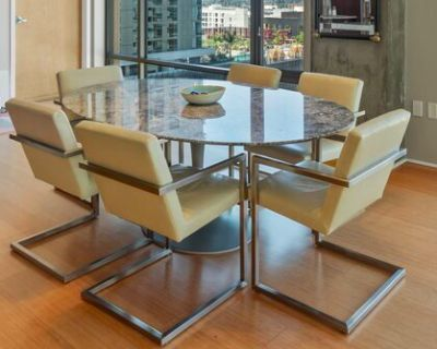 Custom Dining Table with Room & Board Lira Leather Arm Chairs