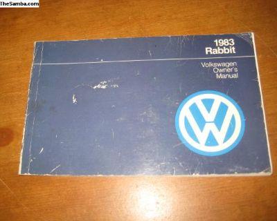 Rabbit owners manual 1983