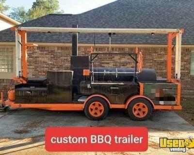 16' Open BBQ Pit Barbecue Smoker Trailer w/ Rotisserie and Santa Maria Grill