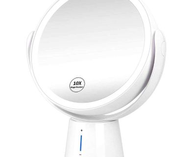 Rechargeable Double Sided Makeup Mirror with LED Lights, 1X /10X Magnification, Touch Control, 360 Rotation and Dimmable