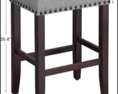 SONGMICS Set of 2 Bar Counter Stool, Well-Padded Dining Chair, Solid Wood Legs, Cotton-Linen Fabric,