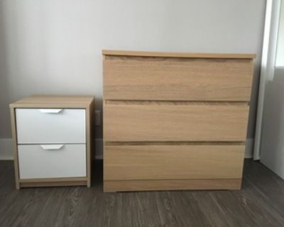 Beige and white dressers end tables