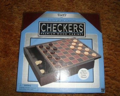 new fundex games brand checkers w premium wood storage cabinet and game board