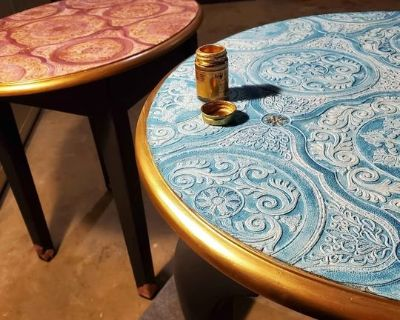 Turquoise and Purple dude tables. Can sell separate